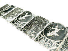 Vintage Siam Sita BB Sterling Silver Cuff Style Bracelet with Peacock Designs