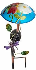Blue Glass Outdoor Garden Mushroom Solar Powered Stake Light - Dragonfly Flower