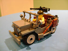 LEGO LOT #148 CUSTOM WW2 WORLD WAR 2 USA US ARMY WILLY JEEP WITH MINI FIGURE