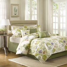 Hawaiian Tropical Leaves Beach House CAL King Comforter (7 Piece Bed In A Bag)