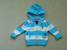 girls RALPH LAUREN blue white big pony sweater hoody size 9M 9 mos NEW nwt