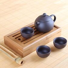 Chinese Yixing Zisha Clay Tea Set - Pot with Three Cups, Tea Tray Chapan and Ton