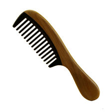 Horn Wood Comb Wide Tooth Handmade Buffalo Horn Wood Handle No Static Hair Comb