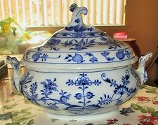 Antique Large Germany Meissen Soup Vegetable Oval tureen Blue Onion X Back stamp