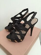 MIU MIU BLACK WASHED LEATHER PLATFORM STRAPPY HIGH HEEL SANDALS WOMEN'S 37 / 7