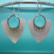 "1""Natural White Mother of Pearl Shell Handmade Earrings 925 Sterling Silver Drop"