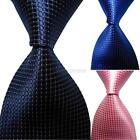 Fashion Solid Color Plaid Men Tie JACQUARD WOVEN 100% Silk Men's Tie Necktie D27