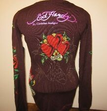 ED HARDY womens sweater sm brown Love Kills Slowly LKS crystals stones hearts