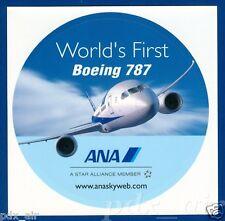 BOEING 787 DREAMLINER WORLD'S FIRST ANA ALL NIPPON AIRWAYS ROUND STICKER