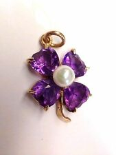 Super Sweet! 14K Yellow Gold Vivid Deep Purple Amethyst Clover Pearl Pendant