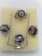Silver Genuine Fresh Water Pearl Earring Ring And Necklace Gift Set USSeller