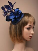 Large Navy Blue Satin Hat Fascinator Clip Feather Ladies Day Races Wedding Ascot