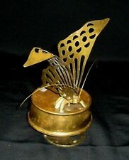 """Vintage  Brass Butterfly Music Box Taiwan (Its a Small World) 6""""x 3"""""""