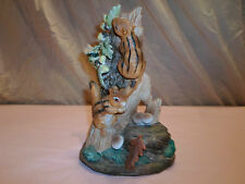 Chipmunk/Squirrel Ceramic Figurine Figure Autumn Fall Tree Log Acorns Mushrooms