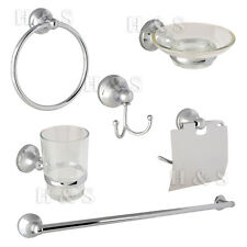 6pcs Chrome Bathroom Wall Mount Accessory Set Toilet Roll Soap Towel Rail Holder