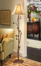 Antique Metal Birds & Vines Floor Lamp w/ Champagne Fabric Shade