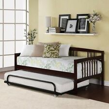 Twin Bed Daybed Espresso Wood Frame Kids Bedroom Guest Bed Trundle Mattress New
