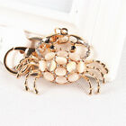 New Lovely Crab Charm Pendant Opals Crystal Purse Bag Key Ring Chain Accessories