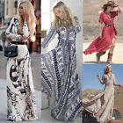 New Womens Boho Floral Print Summer Evening Cocktail Party Beach Maxi Dress 8-18