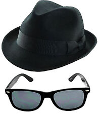 1980'S BLUE BROTHERS HAT+ GLASSESS FANCY DRESS COSTUME SET