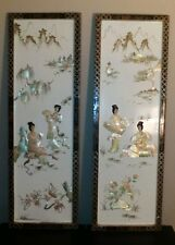 Asian wall panels Shell art Geisha scene Japanese Panels Shell 36""