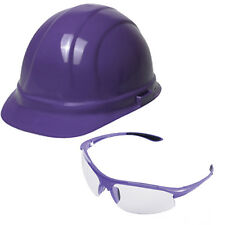 Purple Hard Hat USA Made ANSI Compliant Hardhat Ratchet+ Purple Safety Glasses