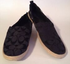 COACH SIGNATURE ESPADRILLE FLAT BLACK SHOES WOMEN 9.5 M CANVAS