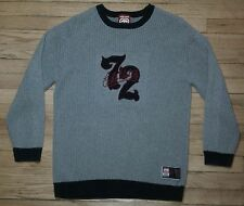 c006 XL Solid Gray Navy Blue Trim ECKO UNLIMITED 72 L/S Sweater!