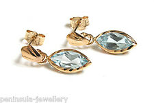 9ct Gold Blue Topaz Drop Earrings Made in UK Gift Boxed