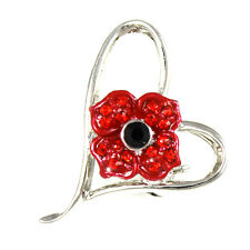 Remembrance Day Poppy In A Heart 4 Petals Brooch Enamel Crystal Charity Donation