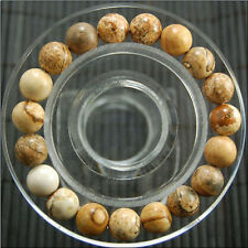 """New 10mm beautiful Natural Brazil  Picture stone Round Beads bracelet 7.5 """""""