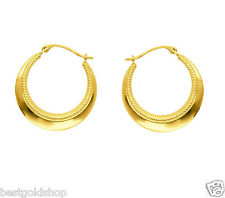 Graduated Textured  Round Hoop Earrings Real 14K Yellow Gold
