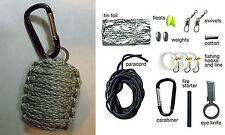 Paracord Grenade Survival Kit Carabiner includes Fire Starter, Eye Knife Bugout