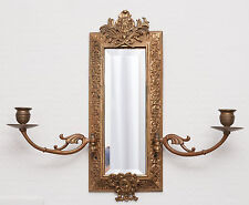Antique French Gilt Bronze Girondelle Mirror with Two Candelabra Branches