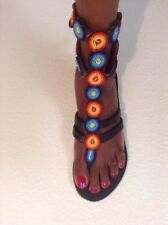 African-Arena Handmade Black Leather 2 Ties Sandals Mix Colors Seed  Beads