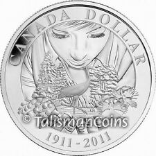 Canada 2011 National Parks Centennial 100th Whooping Crane $1 Silver Proof