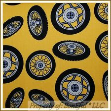 BonEful FABRIC FQ Cotton Yellow Garage Fix Car Truck Tire Wheel Shop Shelf Tool
