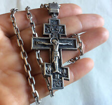Russian Orthodox Pectoral sterling silver cross with chain