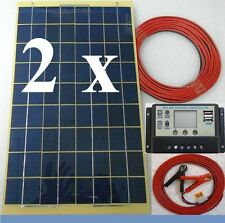20w =2x 10w Solar Panel +8m cable fuse + 10A LCD Charger 12v 24v Battery c/w USB