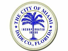 4x4 inch Round MIAMI CITY Seal Sticker -decal Dade Co keys funny biscayne beach