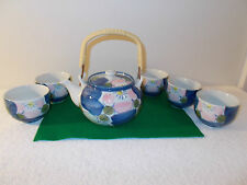 Vintage Japanese Tea Set with Pretty Design, Pot and 5 Cups