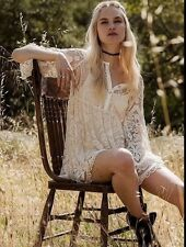 Free People El Sol Mini Dress By Jen's Pirate Booty Ivory Retails $168.00 Small