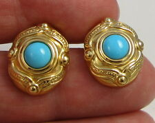 Estate Vintage Stunning 14k Yellow Gold Persian Blue Turquoise Pierced Earrings