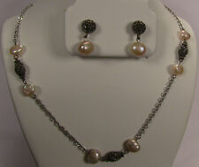 Judith Jack Sterling Silver Marcasite & Faux Pearl Necklace Earring Set