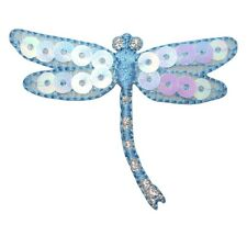 ID 1649A Blue Dragonfly Damselfly Sequin Wing Insect Bug Iron On Applique Patch