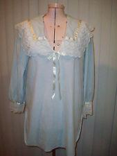 DIANE VON FURSTENBERG Vintage 1980s SleepShirt Nylon Lace Sz M Blue MINT!
