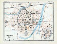 Carcassonne Cité Montagne Noire 1923 pt. plan ville orig. + guide (5 p.) Sorèze