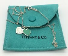 "TIFFANY & Co. Blue Enamel MINI DOUBLE HEART TAG 16"" Silver NECKLACE W. Pouch Bag"