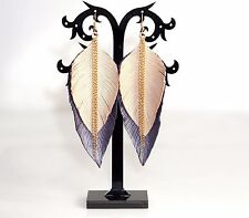 "GENUINE LEATHER feather earrings beige-pink & violet, 4"", rose gold findings"