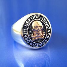 """USMC Marine Ring """"Death Before Dishonor"""" Sterling & 14 K Gold Size 8 to 14 (S&C)"""